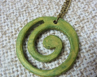 Handpainted spiral necklace