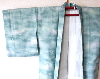 Haori · cardigan.light blue.A flower drifting on the surface.