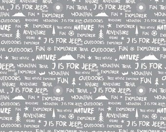 Gray Words Quilt Fabric - J is for Jeep - Riley Blake Designs