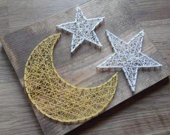 Moon String Art, Star and Moon String Art, Nursery String Art, Star String Art, Night String Art, Home Decor, Baby String Art