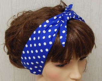 Polka dots self tie headband, retro hair scarf, 50's headscarf, blue dotted pin up hair band, tie up head scarf, rockabilly cotton headband