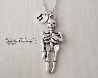 Skeleton Necklace - Bones Jewelry - Personalized Monogram Initial Charm - Antique Silver Jewelry