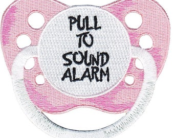 """Baby Pink Pacifier Pull to Sound Alarm Iron On Patch 2.2"""" x 2"""" Free Shipping by C&D Visionary P-4207"""