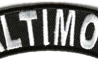 Baltimore Rocker Iron On Patch - 4 x 1 inch Free Shipping Biker Veteran Military Biker P3603