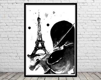 Musician, street musician, Paris print, violin, violin watercolor, watercolor man, man print, watercolor musician (1987b)