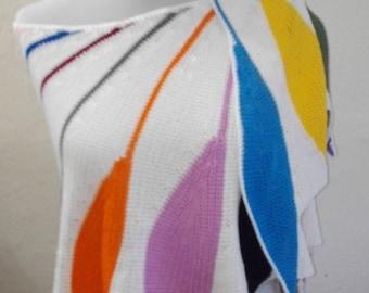 Crochet scarf Multicolor Feathers