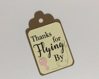 Thanks for Flying ByFavor Tags, Set of 12 Hot Air Balloon Gift Tags
