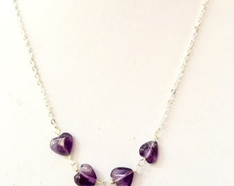 Amethyst heart necklace, amethyst necklace, Purple Heart necklace, amethyst necklace