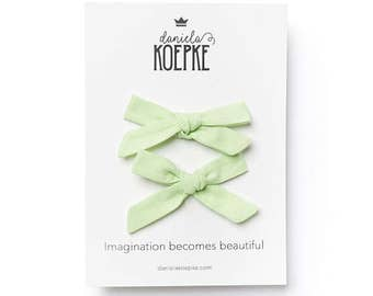 "Hair Bows for Girls - ""Honeydew"" - Hair Bows - Pigtail Set"