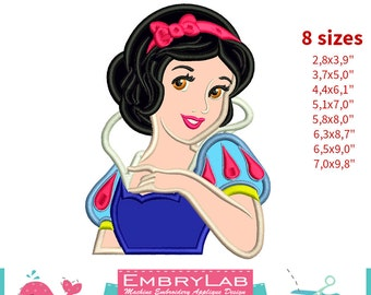 Applique Princess Snow White With Apple. Machine Embroidery Applique Design. Instant Digital Download (17329)