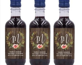 Wedding Mini Wine Bottle Labels, Custom mini wine bottle label stickers #MW14