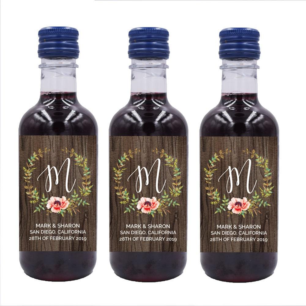 Wedding Mini Wine Bottle Labels Custom mini wine bottle label