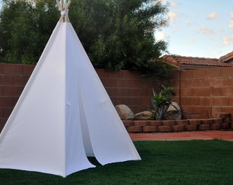 Pure White  Canvas Plain Kids Teepee, Kids Play Tent, Childrens Play House, Tipi,Kids Room Decor