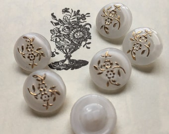 6 beautiful old small collector / glass buttons - buttons Art Nouveau - white with Golden Flower