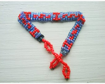 Tribal Design,Red,Blue,Beading,Loom Work,Bracelet,Tribal,NativeAmerican Design,Jewelry,Colorful,Fun,Boho,Beach,Bright,Nature,Woodsy