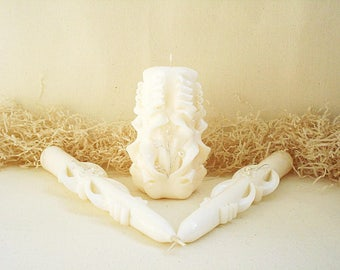 Wedding candles-Unity Candle set-ivory-carved candles for wedding-wedding candles-bright flower beads-delicate candles