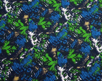 "Designer Fabric, Abstract Print, Sewing decor, Dressmaking Cotton Fabric, Blue color, 58"" Inch Quilting Fabric By The Yard ZBC7790C"