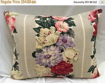 Barkcloth Custom Pillow Cover Sham Floral Vintage Fabric Mid-Century Throw Decorative Grey Beige Purple Burgandy Cottage Chic Home Decor