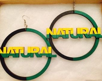 Large Hand Painted Black Green and Yellow Natural Earrings
