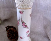 Large Antique German Max Roesler Porcelain Cylinder Vase with Reticulated Rim and Rose Swags  Gold Detailing, VGC, FREE SHIPPING