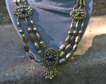 Vintage 70s Gypsy Belly Dancer Kuchi 3 Strand Necklace with Bells Boho