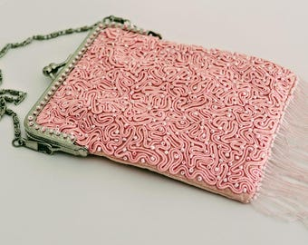 1920s flapper style evening bag in pale pink silk