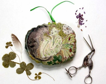 The Rollright  Faerie - handmade fairy textile fine art doll