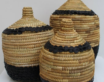 Handmade moroccan basket with leather S