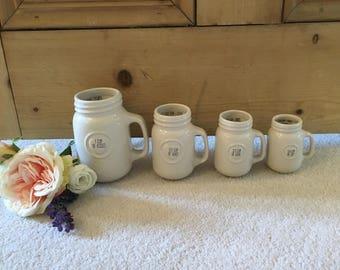 Set of Cream Heart Measuring Cups
