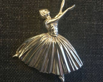 1940's Vintage Ballerina Brooch in Sterling Silver