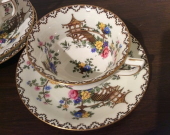 Aynsley Pagoda Teacup and  Saucer Duo Vintage Oriental design