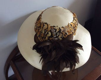 Vintage Hat by Pauline Cream with Brown Feather Detail
