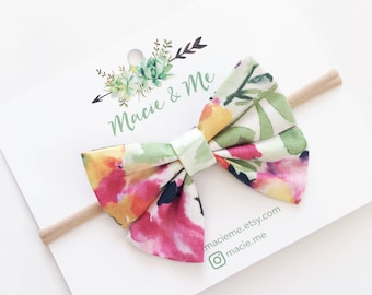 Bright Summer Floral Bow / Sailor bows / Hair Bow / Headband / Clip / Baby Bow / Macie and Me