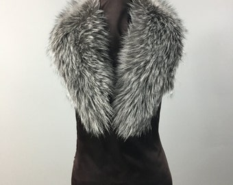 Luxury gift/Silver Fox Fur Collar  Women's/wedding or anniversary present