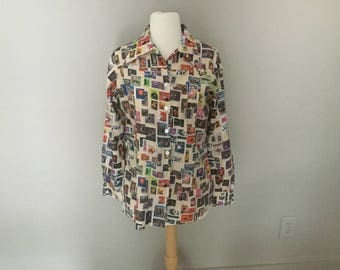 70s CATALINA DISCO BLOUSE Stamp Collector Design Disco Top Roll Over Collar Label Catalina Sportswear Poly Fabric Hong Kong Size Medium