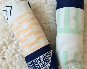 Gold and Navy Aztec Neck Strap Covers, Baby's and Toddler's Strap Cover Set for Baby Car Seat, Car Seat Cover Accessory, Seat Belt Cover