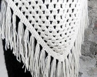 Vintage Hand Crochet Natural Wool Shawl