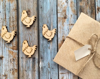 8 Pieces Chicken 2 Wood Tags, Wood Blanks, Pendants, Wood Pendant, Wood Craft Supply, Wood Supplies, Wood Squares, Craft Wood, Wood Pendants