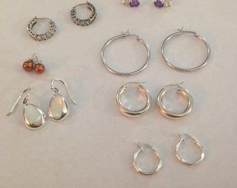 On hold for B.L Set of 7sterling silver earrings