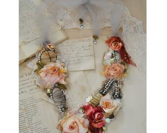 Sahara Rose .... Romantic Bohemian Necklace Shabby Statement Tattered Roses By Petal Poetry