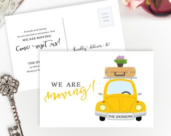 PRINTED Moving announcements | We're moving cards | 4X6 moving cards with car | Change of address cards cheap | Pack of 40