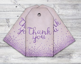Printable Lavender Thank You Tags, Modern Favour Tags, Whimsical Party Favour, Instant Download
