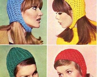 Pdf Vintage Ladies Hat Helmet Knitting Pattern 1960s Patons 9893 HEAD HUGGERS Bonnet EASY Cap, Kitsch, Mod, Go Go, Carnaby Street, Groovy