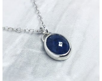 Lapis Silver Necklace, gift for her, charm necklace