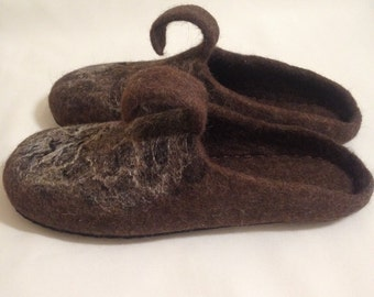 men's felted organic wool slippers, house shoes, home shoes for men