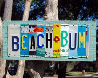 BEACH BUM license plate signs - beach house, island, tropical sign