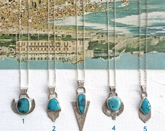 Turquoise Sterling Silver Charm Necklaces