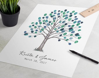 Wedding Guest Book - Delicate Birch Wedding Guestbook is an elegant fingerprint tree, thumbprint tree, guestbook alternative