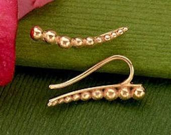 Rose Gold Dot Ear Climber Earrings. Item 180.