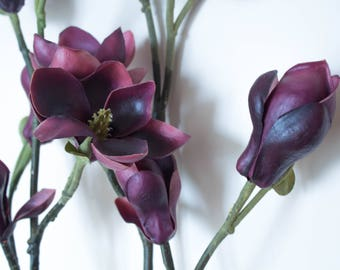 Real Touch Magnolia/Dark Purple/Pink Artificial Flowers/Flower Arrangement/Floral Centerpiece/Magnolia Home Decor